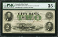 Canadian Currency: , Montreal, PQ- City Bank $2 Jan. 1, 1857 Ch. # 110-14-02-04. ...