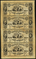 Obsoletes By State:South Carolina, New Orleans, LA- Canal Bank $5-$5-$5-$5 Oct. 5, 1853 Uncut Sheet. ...
