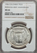 Colombia, Colombia: Republic Peso 1956 MS66 NGC,...