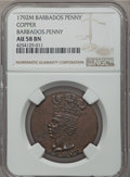 Barbados, Barbados: British Commonwealth copper Penny 1792 AU58 Brown NGC,...