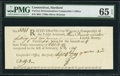 Colonial Notes:Connecticut, Connecticut Oliver Wolcott Comptroller Receipt £3.19s.2d September 4, 1789 PMG Gem Uncirculated 65 EPQ.. ...