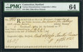 Colonial Notes:Connecticut, Connecticut Oliver Wolcott Comptroller Receipt £1.5s.7d March 6,1789 PMG Choice Uncirculated 64.. ...