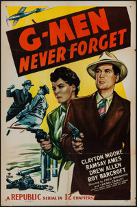 """G-Men Never Forget (Republic, 1948). One Sheet (27"""" X 41"""") & Lobby Card Set of 4 (11"""" X 14""""). Se..."""