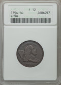 Half Cents, 1794 1/2 C Normal Head, C-5a, B-3b, High R.4, Fine 12 ANACS....