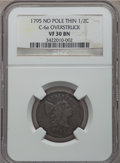 Half Cents, 1795 1/2 C Plain Edge, No Pole, Thin Planchet, C-6a, B-6a, R.2, VF30 NGC....