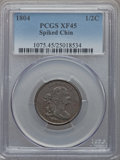Half Cents, 1804 1/2 C Spiked Chin, C-5, B-4, R.4, XF45 PCGS....