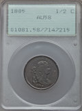Half Cents, 1805 1/2 C No Stems, C-1, B-1, R.1, AU58 PCGS....