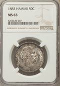 Coins of Hawaii , 1883 50C Hawaii Half Dollar MS63 NGC....