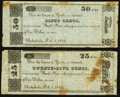 Obsoletes By State:Ohio, Ashtabula, OH- Unknown Issuer 25?; 50? Feb. 1, 1842 Remainders...(Total: 2 notes)