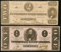 Confederate Notes, T61 $2 1863 PF-8 Cr. 472. T62 $1 1863 PF-1 Cr. 474 .. ... (Total: 2 notes)