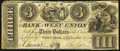 Obsoletes By State:Ohio, West Union, OH- Bank of West Union $3 Jan. 1, 1839. ...