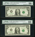 Fr. 1918-E $1 1993 Federal Reserve Notes. Three Consecutive Examples. PMG Choice About Unc 58-58 EPQ; Fr. 1918-G $1 1993...