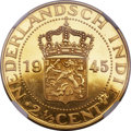 Netherlands East Indies, Netherlands East Indies: Dutch Administration gold Proof Pattern2-1/2 Cents 1945 PR65 Cameo NGC,...