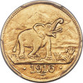 German East Africa, German East Africa: German Colony. Wilhelm II gold 15 Rupien 1916-T MS64 PCGS,...