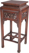 Asian:Chinese, A Chinese Carved Rosewood Stand, early 20th century. 32 h x 14 w x14 d inches (81.3 x 35.6 x 35.6 cm). ...