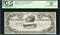 Raleigh, NC- Bank of the State of North Carolina $5 G515 Proof