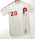 Autographs:Jerseys, Mike Schmidt Signed Jersey. Perfect replica of the 500 Home Runclub member's home pinstriped Phillies flannel is signed on...