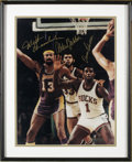 "Autographs:Photos, Chamberlain, Abdul-Jabbar and Robertson Signed Large Photograph.Despite its enormous 16x20"" size, it's still hard to imagi..."