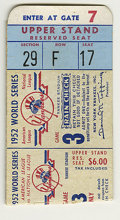 Baseball Collectibles:Others, 1952 World Series Game Three Ticket Stub. Despite Mize and Berrahome runs, the Yanks fell to the Dodgers this date. Stub ...