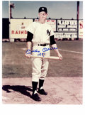 Autographs:Photos, Mickey Mantle Signed Large Photographs Lot of 2. Great image of theMick kneeling in the infield grass at Yankee Stadium me...