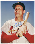 """Autographs:Photos, Stan Musial Signed Large Photograph. Fantastic 16x20"""" image of thisCardinals Hall of Famer offers a 10/10 blue sharpie ins..."""
