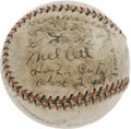 Autographs:Baseballs, 1933 New York Giants Team Signed Baseball. Tired of their neighbors on the other side of the Harlem River hogging all of th...