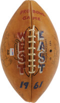 Football Collectibles:Balls, 1961 Pro Bowl Signed Football. Reading like a who's who of the legends of the 1960's game is this historic pigskin, blessed...