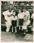 """Autographs:Photos, 1950's Jackie Robinson & Pee Wee Reese Signed Photograph. Athrilling day for """"Jeremy and Johnny,"""" who appear at the dugout..."""