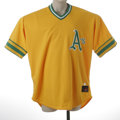 Baseball Collectibles:Uniforms, 2002 Aaron Harang Oakland Athletics Game Worn Throwback Jersey. Beautiful 100% polyester size 52 Rawlings jersey of #56 Aaro...