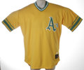 Baseball Collectibles:Uniforms, 2002 Mike Magnante Game Worn Throwback Jersey. High-quality example from the Oakland A's reliever Mike Magnante. Worn duri...