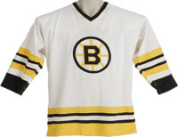 Early 1980's Ray Bourque Game Worn Jersey. Exceptional early career representation is one of the few in the hobby bearin...