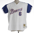 Baseball Collectibles:Uniforms, 2002 Bobby Cox Atlanta Braves Game Worn Throwback Jersey. The eraof Hank Aaron's historic Babe-busting home run is recalled...