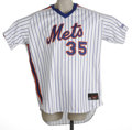 Baseball Collectibles:Uniforms, Circa 2003 Dave Weathers Game Worn Jersey. Home white pinstriped New York Mets jersey shows wear from this big right-hander...