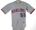 Baseball Collectibles:Uniforms, 2002 Michael Tejera Game Worn Throwback Jersey. Authentic game worn throwback jersey from the Marlins reliever's 2002 seas...
