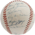 Autographs:Baseballs, 1956 National League All-Star Team Signed Baseball. The 500 Home Run Club is well represented on this high-grade OAL (Harri...