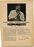 "Autographs:Others, 1936 Babe Ruth Signed ""Babe Ruth's Baseball Advice"" Publication. ""Play Ball, Young Fellow!"" suggests the beloved Bambino, w..."