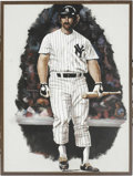 Baseball Collectibles:Others, 1979 Thurman Munson Original Artwork by Simon. Early acrylic oncanvas by top sports artist Robert Stephen Simon is signed ...