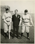 "Baseball Collectibles:Photos, 1941 Babe Ruth ""The Pride of the Yankees"" Photograph. The Bambinoposes beside early sports agent Christy Walsh and fellow ..."