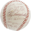 Autographs:Baseballs, 1956 National League All-Star Team Signed Baseball. Even a pair ofsixth inning home runs from Mantle and Williams could no...