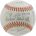 Autographs:Baseballs, 1944 St. Louis Browns Team Signed Baseball. Cynics will blame it ona talent pool depleted by military service, but a penna...