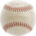 Autographs:Baseballs, 1951 New York Yankees Team Signed Baseball. The departing Joltin'Joe takes his rightful place upon the sweet spot of this ...