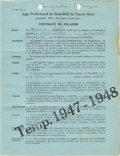 Autographs:Others, 1947-48 Leon Day Puerto Rican League Contract. Many of the greatestfigures of the Negro Leagues suited up in the uniform o...