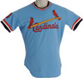 Baseball Collectibles:Uniforms, 1979 Lou Brock Game Worn Jersey. Lou Brock's final career base theft, number 938, was also the one that gave him sole posse...