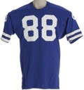 Football Collectibles:Uniforms, Late 1970's Drew Pearson Game Worn Jersey. Highly-desirable blue durene Dallas Cowboys gamer instantly recalls the favored ...