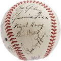 Autographs:Baseballs, 1939 American League All-Star Team Signed Baseball. In properdeference to the great Iron Horse, whose heartwrenching farew...