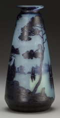 Art Glass:Other , Andre Delatte Overlay Glass Landscape Vase. Circa 1921. Cameo A.DELATTE, NANCY. Ht. 10-3/8 in.. ...