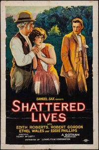 """Shattered Lives (Lumas, 1925). Trimmed One Sheet (26.75"""" X 40.5"""") Style B. Drama"""