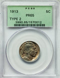 Proof Buffalo Nickels, 1913 5C Type Two PR65 PCGS. PCGS Population: (108/159). NGC Census: (67/111). CDN: $1,860 Whsle. Bid for problem-free NGC/P...