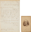 Autographs:Military Figures, Robert E. Lee: A Handwritten Letter with Signed Carte de VisitePhoto.... (Total: 2 Items)