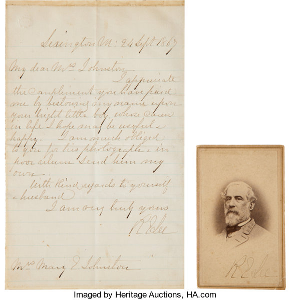 AutographsMilitary Figures Robert E Lee A Handwritten Letter With Signed Carte